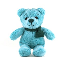 Hand made TEDDY BEAR blue color with scarf on white background