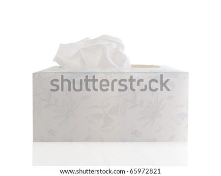 Hand made tissue box with tissue on a white background