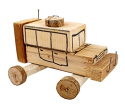 Hand made wooden toy car isolated on white background