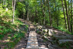 Hand made wooden  walk bridge for hikers in forest mountains. Skolivski Beskydy,  Ukrainian Carpathians. Tourist nature landmark, tourism destination
