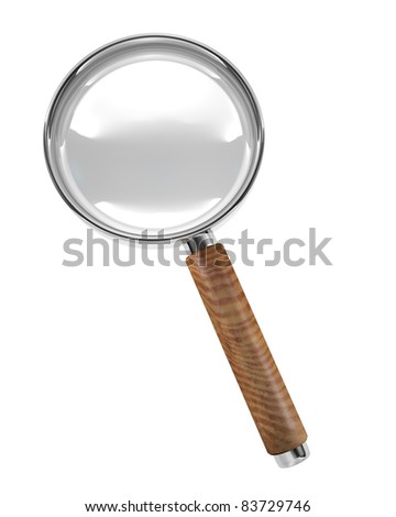 Hand magnifier icon isolated on white background. 3D render