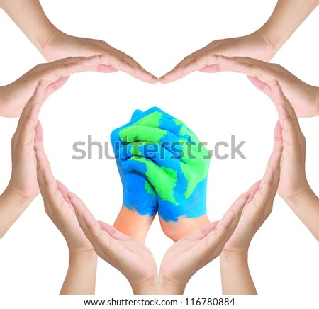 hand make sign heart and map of world painted on hands.Isolated on white background.