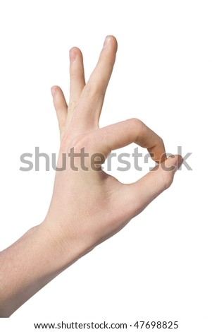 hand making gesture ok or okay on white background - stock photo