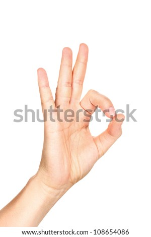 Hand making sign isolated on white - stock photo