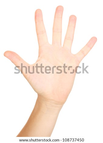 Hand making sign isolated on white