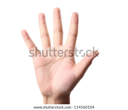 hand making sign on white background