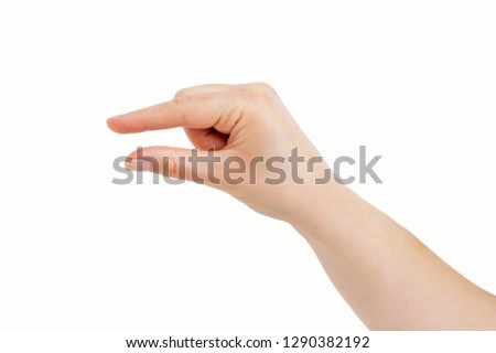 hand making the symbol that means pick up on white background #1290382192