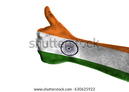 Royalty Free Hand Pointing Right Side India Painted 471931367