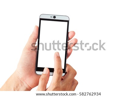 Hand male holding and touch smartphone, blank screen isolated on white background #582762934