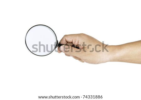 hand man finding on white background