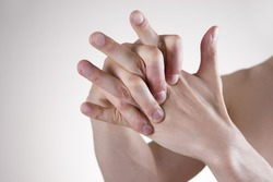 Hand Massage. Pain in the finger joints. Arthralgia
