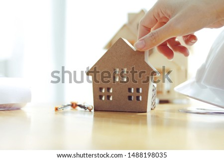 Hand modeled house Concept of buying a house, selling a house #1488198035