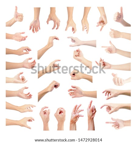 hand muitiple collection set in symbol gestures of both man and woman by asian body part with isolated on white background