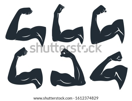 Hand muscle silhouette. Strong arm muscles, hard biceps and power gym. Armpits muscle fitness logo, body builder guy bicep or strength arms powers badge. Isolated  stencil icons set