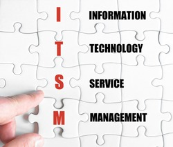 Hand of a business man completing the puzzle with the last missing piece.Concept image of Business Acronym ITSM as Information Technology Service Management
