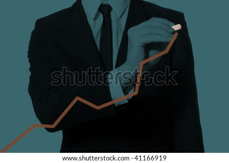 hand of a businessman drawing diagram, monochromatic cyan