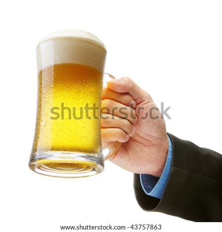 hand of a businessman holding a beer toasting
