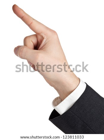 Hand of a businessman pointing upwards isolated on white background