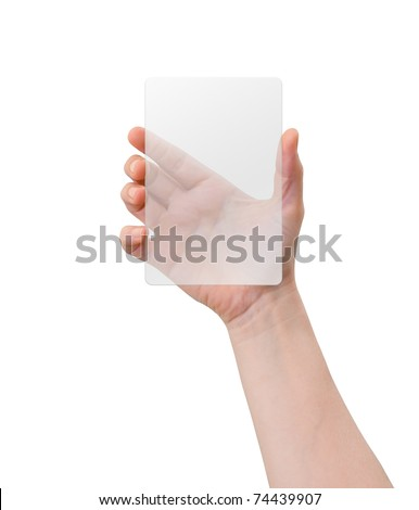 Hand of a caucasian female holding transparent white plastic device, isolated on white