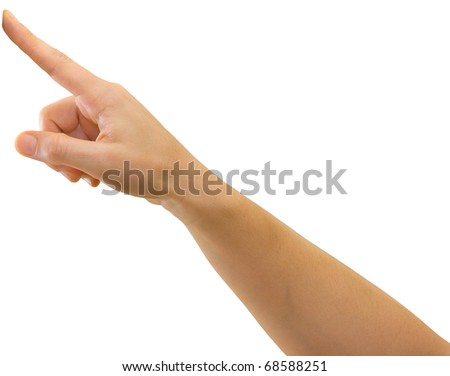 Hand of a caucasian female pointing or pressing a button etc., isolated on white - stock photo