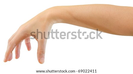Hand of a caucasian female to grab some round object, isolated on white