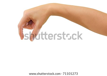 Hand of a caucasian female to grab some small round object, isolated on white