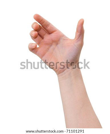 Hand of a caucasian female to hold card, mobile phone, tablet PC or other palm gadget, isolated on white - stock photo