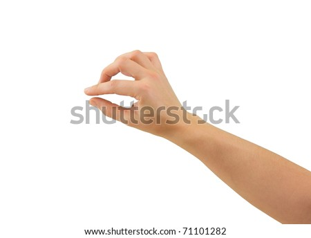 Hand of a caucasian female to hold some tiny or thin object, isolated on white