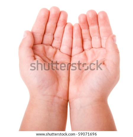 hand of a child on a white background