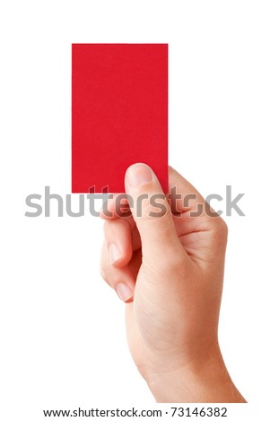 Hand of a judge showing negative decision symbol - red card, isolated on white background