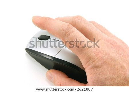 Hand of a man clicking a mouse button, top view, isolated on white, focus on the finger