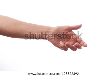 Hand of a man to hold card, mobile phone, tablet PC or other palm gadget, isolated on white