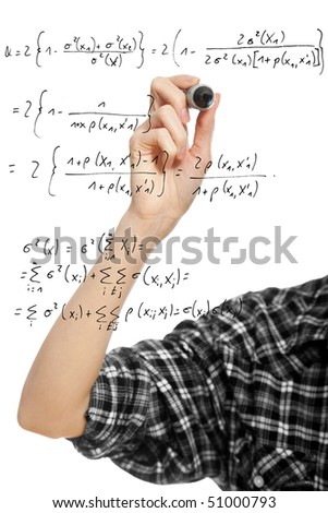 hand of a student girl drawing a mathematical formula in the air, isolated on white