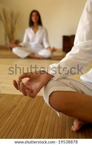 Hand of a woman doing yoga