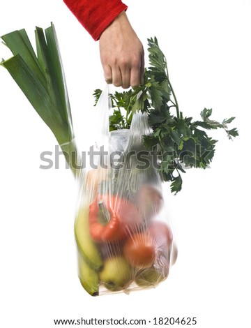 hand of a woman holding a grocery-bag with vegetables and fruits