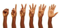 Hand of african man showing numbers from zero to five with his fingers