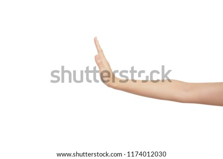 hand of Asian woman is reach out in don't gesture or stop gesture isolated on white background #1174012030