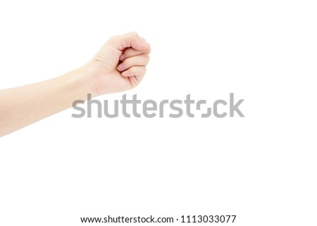 hand of Asian woman is show fist up for mean fight isolated on background