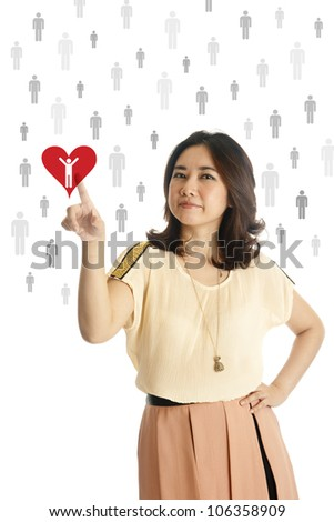 Hand of asian young woman pushing on a red heart drawing, isolated