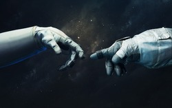 Hand of astronaut and robot. Science fiction wallpaper. Elements of this image furnished by NASA