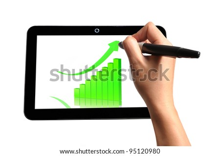 Hand of Business Man Draw 3d Graph on Touch screen of Tablet PC