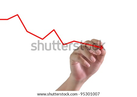 Hand of Business Man Draw Falling graph on Touch screen of Tablet PC