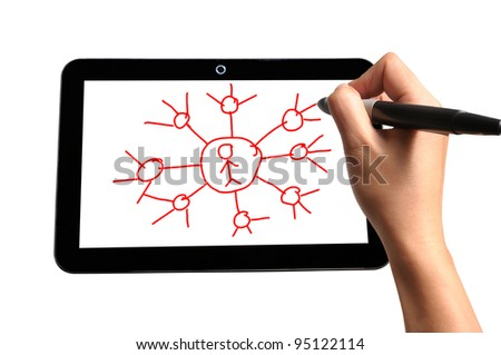 Hand of Business Man Draw Global Network Diagram on Touch screen of Tablet PC
