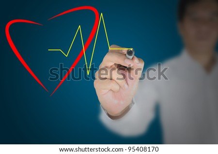 Hand of Business Man Draw Heart and Pulse