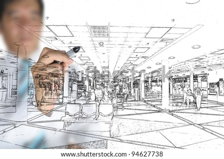 Hand of business man draw visual interior design