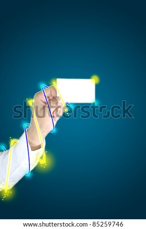 hand of business man hold a card