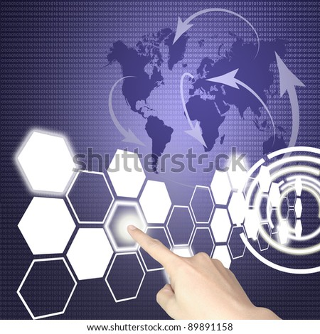 Hand of business man press hexagon button on world map or tablet pc touch screen