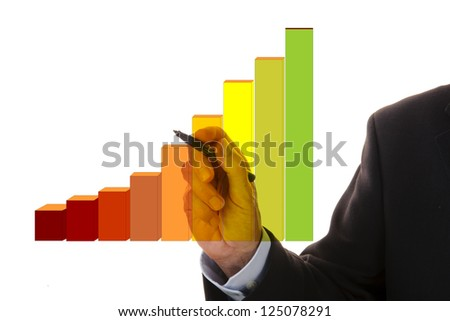hand of business man shows success with diagram
