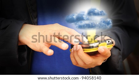 Hand of business man touch screen of mobile phone present cloud computing - stock photo