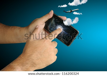 Hand of Business man touch smart phone with plane and cloud